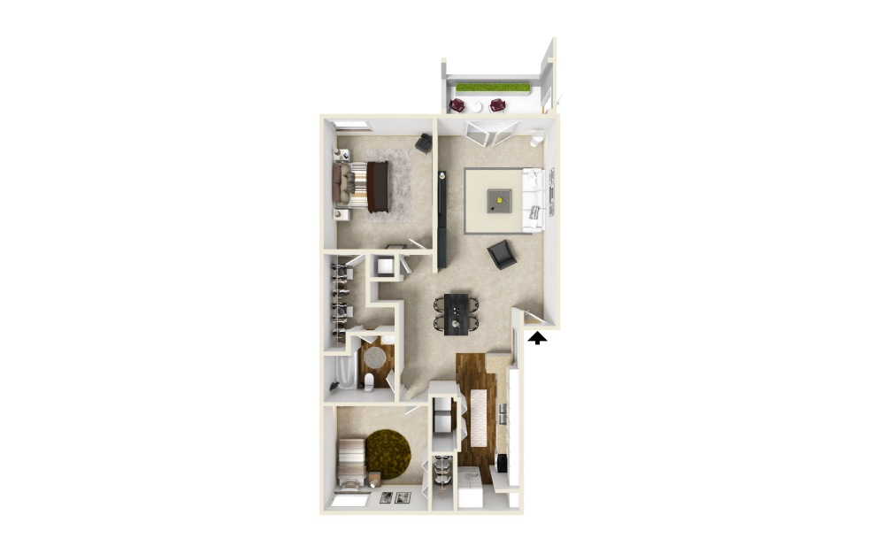 The Midtown - 2 bedroom floorplan layout with 1 bath and 1000 square feet.